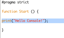 Unity Hello Console Selected